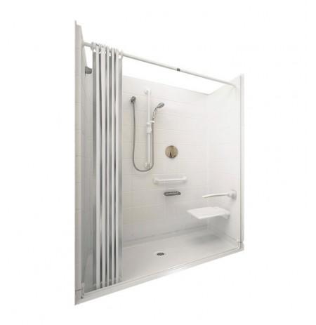 """Ella 6030BF5P-ELW Elite White Barrier Free Roll In Shower Kit - 60"""" x 30"""""""