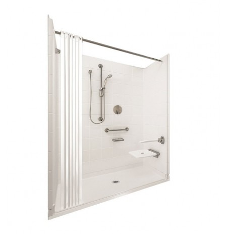 "Ella 6030BF5P-ELB Elite Brilliant Barrier Free Roll In Shower Kit - 60"" x 30"""