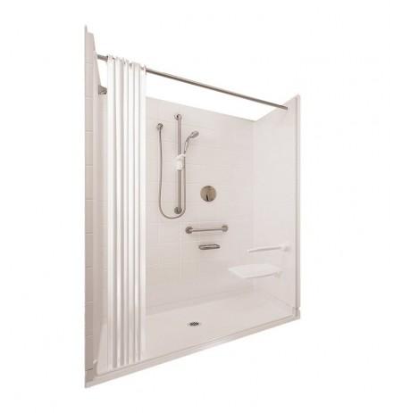 "Ella 6030BF5P-ELS Elite Satin Barrier Free Roll In Shower Kit - 60"" x 30"""
