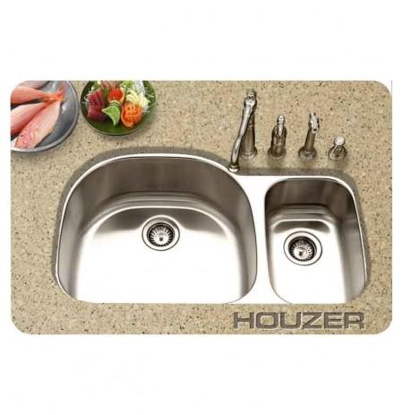 Houzer MCS-3521SR-1 40 inch Undermount 70 / 30 Large Left Basin Kitchen Sink