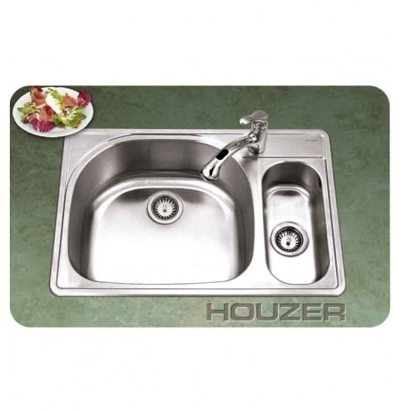 Houzer PMG-3322SR-1 Self Rimming 80 / 20 Large Left Basin Kitchen Sink