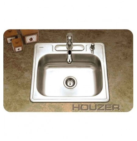 Houzer 2522-8BS3-1 Self Rimming 3 Hole Single Basin Kitchen Sink