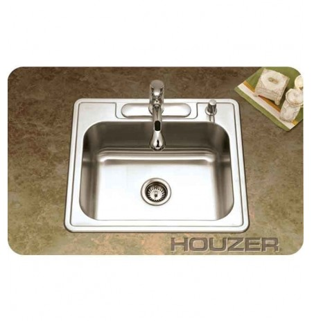 Houzer 2522-9BS3-1 Self Rimming 3 Hole Single Basin Kitchen Sink