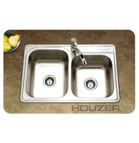 Houzer ISL-3322BS1-1 Self Rimming 60 / 40 Double Basin Single Hole Kitchen Sink