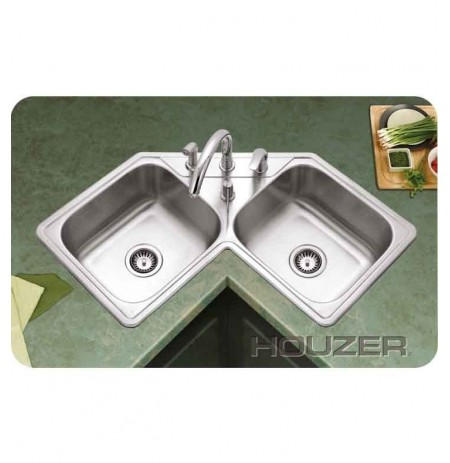 Houzer LCR-3221-1 Self Rimming Double Basin Corner Kitchen Sink
