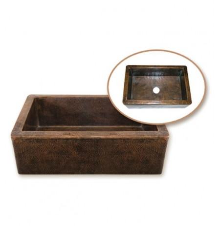 Houzer HW-COP11 Farm House Undermount Single Basin Hand Hammered Copper Kitchen Sink
