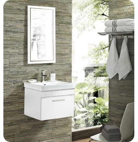 "Fairmont Designs 177-WV21 Metropolitan 21"" Wall Mount Modern Bathroom Vanity and Sink Set in High Gloss White Finish"