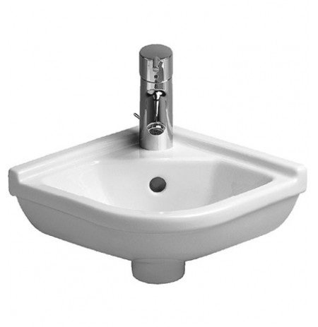 Duravit 0752440000 Starck 17 1/4 inch Wall Mount-Corner Porcelain Bathroom Sink