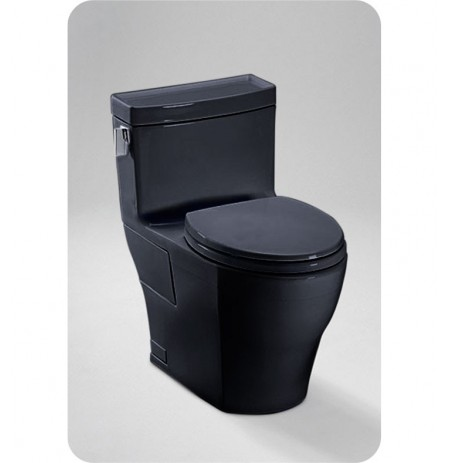 TOTO MS624214CEF Legato™ One-Piece High-Efficiency Toilet in Ebony Black Finish, 1.28GPF