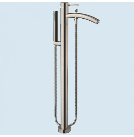 Modern-Style Bathroom Tub Filler (Floor-mounted) in Brushed Nickel