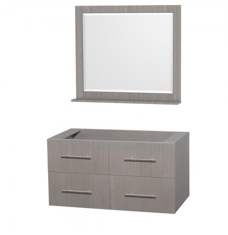 42 inch Single Bathroom Vanity in Gray Oak, No Countertop, No Sink, and 36  inch Mirror