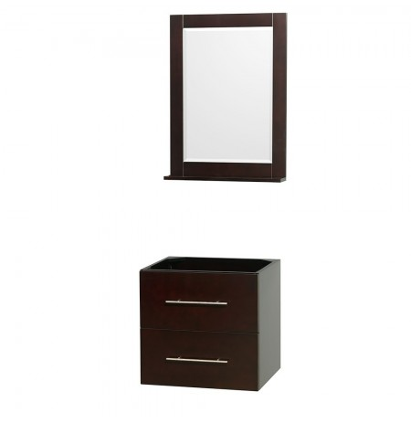 24 inch Single Bathroom Vanity in Espresso, No Countertop, No Sink, and 24 inch Mirror