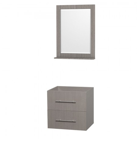 24 inch Single Bathroom Vanity in Gray Oak, No Countertop, No Sink, and 24 inch Mirror