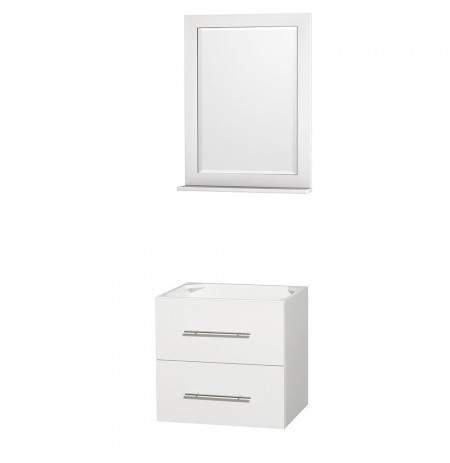 24 inch Single Bathroom Vanity in Matte White, No Countertop, No Sink, and 24 inch Mirror