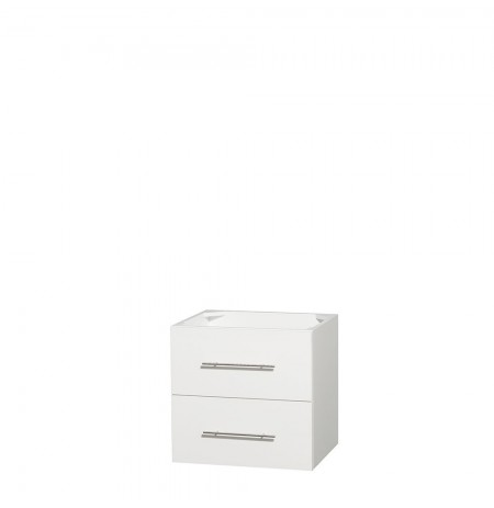 24 inch Single Bathroom Vanity in Matte White, No Countertop, No Sink, and No Mirror