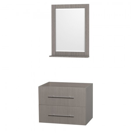 30 inch Single Bathroom Vanity in Gray Oak, No Countertop, No Sink, and 24 inch Mirror