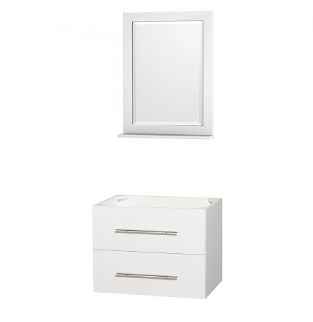 30 inch Single Bathroom Vanity in Matte White, No Countertop, No Sink, and 24 inch Mirror