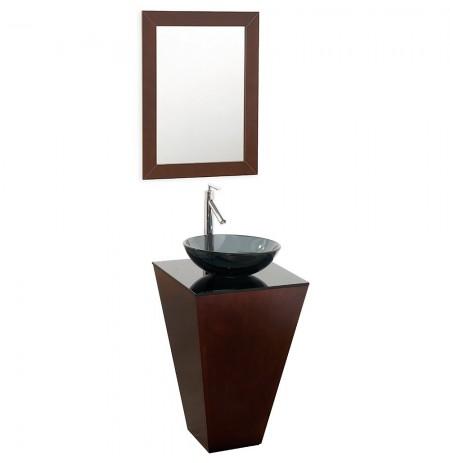 20 inch Pedestal Bathroom Vanity in Espresso, Smoke Glass Countertop, Smoke Glass Sink, and 20 inch Mirror