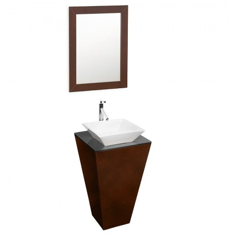 20 inch Pedestal Bathroom Vanity in Espresso, Smoke Glass Countertop, Pyra White Porcelain Sink, and 20 inch Mirror