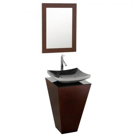 20 inch Pedestal Bathroom Vanity in Espresso, Smoke Glass Countertop, Altair Black Granite Sink, and 20 inch Mirror