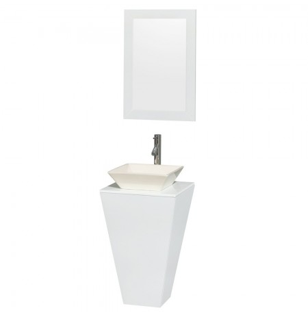 20 inch Pedestal Bathroom Vanity in Glossy White, White Man-Made Stone Countertop, Pyra Bone Porcelain Sink, and 20 inch Mirror