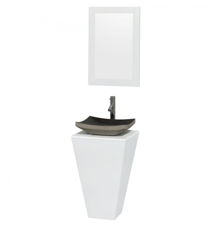 20 inch Pedestal Bathroom Vanity in Glossy White, White Man-Made Stone Countertop, Altair Black Granite Sink, and 20 inch Mirror