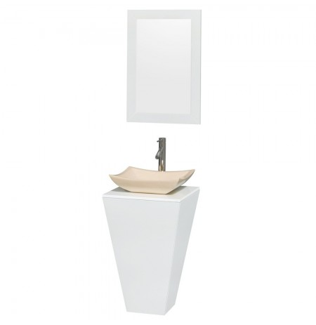 20 inch Pedestal Bathroom Vanity in Glossy White, White Man-Made Stone Countertop, Avalon Ivory Marble Sink, and 20 inch Mirror