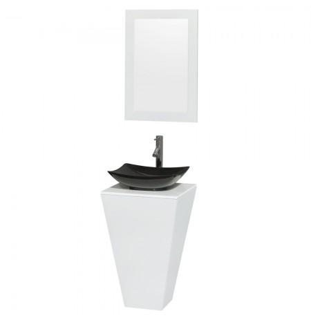 20 inch Pedestal Bathroom Vanity in Glossy White, White Man-Made Stone Countertop, Arista Black Granite Sink, and 20 inch Mirror