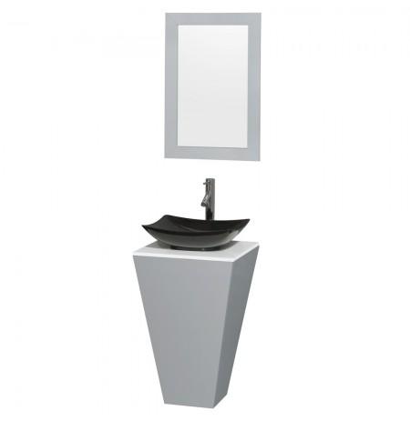 20 inch Pedestal Bathroom Vanity in Gray, White Man-Made Stone Countertop, Arista Black Granite Sink, and 20 inch Mirror