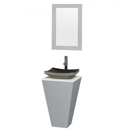 20 inch Pedestal Bathroom Vanity in Gray, White Man-Made Stone Countertop, Altair Black Granite Sink, and 20 inch Mirror
