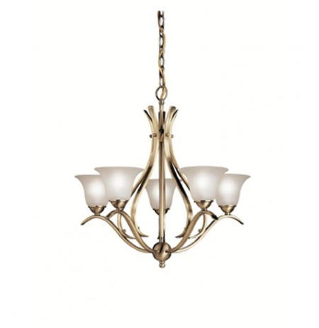 Kichler 2020AB Dover Collection Chandelier 5 Light in Antique Brass