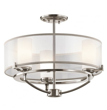 Kichler 42923CLP Saldana Collection Semi Flush Chandelier 3 Light in Chrome