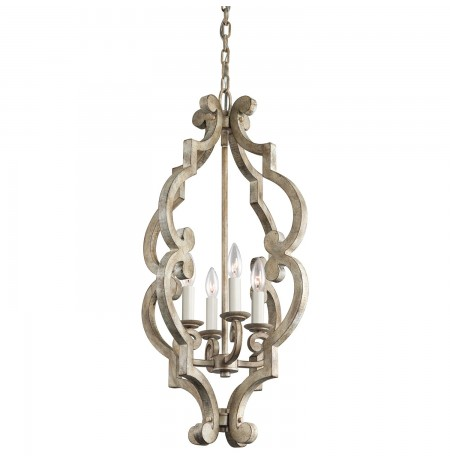 Kichler 43255DAW Hayman Bay Collection Foyer Pendant 4 Light in Distressed Antique White