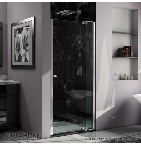 DreamLine Allure 36 to 37 in. Frameless Pivot Shower Door, Clear Glass Door in Chrome Finish