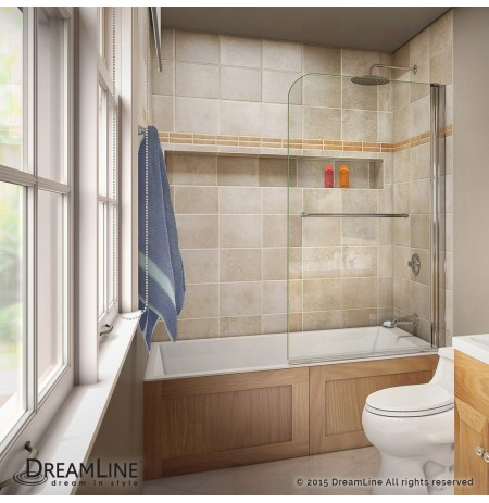 DreamLine AquaSwing Tub Door 34 in. W x 58 in. H Clear Glass Tub Door in Chrome Finish