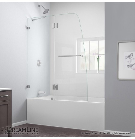 "DreamLine AquaLux 48"" Frameless Hinged Tub Door, Clear 5/16"" Glass Door, Chrome Finish"