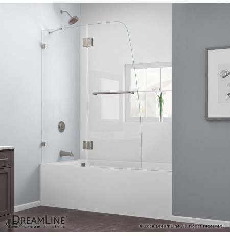 "DreamLine AquaLux 48"" Frameless Hinged Tub Door, Clear 5/16"" Glass Door, Brushed Nickel Finish"
