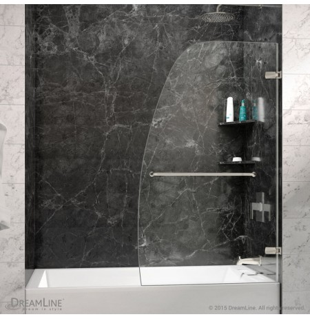 "DreamLine Aqua Uno 34"" Frameless Hinged Tub Door, Clear 1/4"" Glass Door, Brushed Nickel Finish"