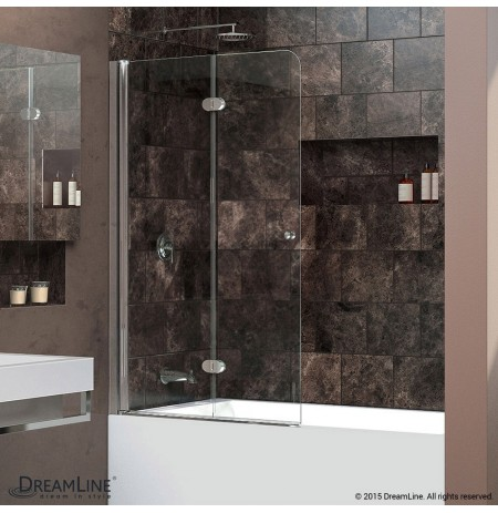 "DreamLine AquaFold 36"" Frameless Hinged Tub Door, Clear 1/4"" Glass Door, Chrome Finish"