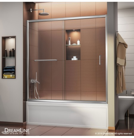 "DreamLine Infinity-Z 56 to 60"" Frameless Sliding Tub Door, Clear 1/4"" Glass Door, Chrome Finish"