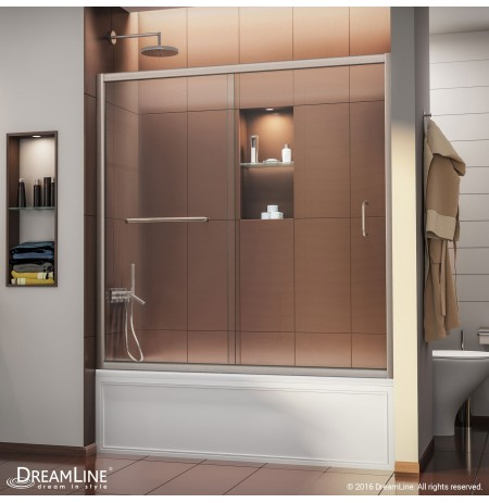 "DreamLine Infinity-Z 56 to 60"" Frameless Sliding Tub Door, Clear 1/4"" Glass Door, Brushed Nickel Finish"