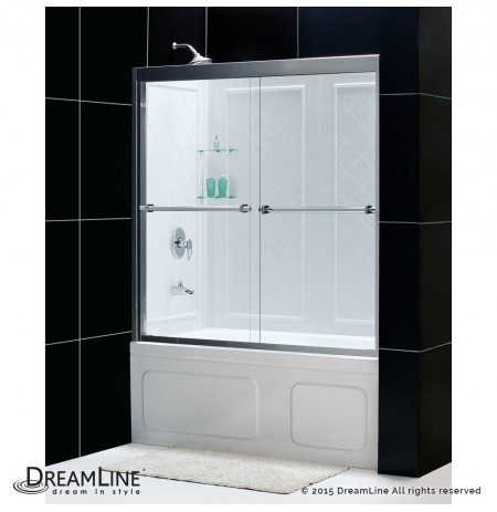 "DreamLine Duet 56 to 59"" Frameless Bypass Sliding Tub Door and QWALL-Tub Backwall Kit"