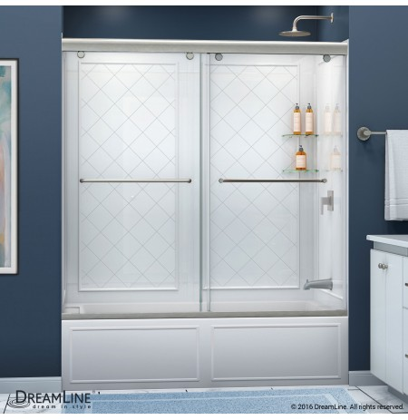 "DreamLine Charisma 56 to 60"" Frameless Bypass Sliding Tub Door and QWALL-Tub Backwall Kit"