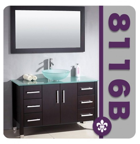 Cambridge Plumbing 8116B 48 inch Wood and Porcelain Single Vessel Sink Vanity Set