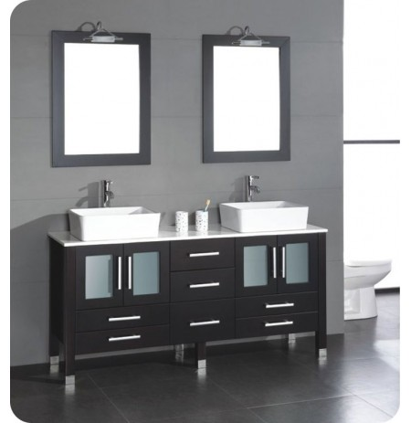 Cambridge Plumbing 8119 63 inch Solid Wood Double Bathroom Vanity Set