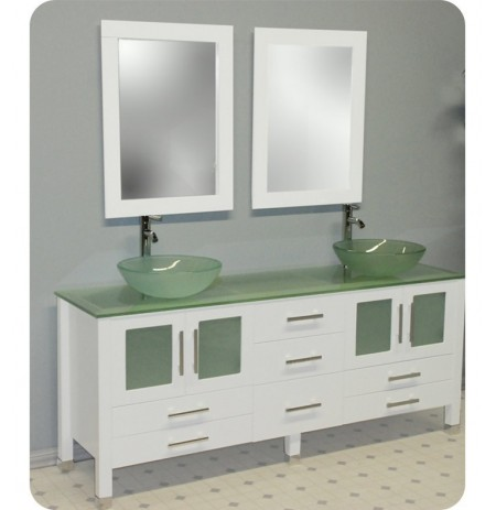Cambridge Plumbing 8119BW 63 inch Solid Wood and Glass Double Vessel Sink Vanity Set