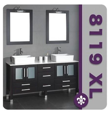 Cambridge Plumbing 8119XL 71 inch Solid Wood Double Bathroom Vanity Set
