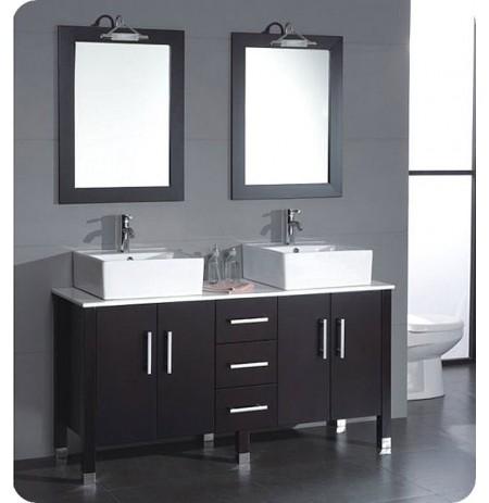 Cambridge Plumbing 8128 60 inch Solid Wood & Porcelain Double Vessel Sink Vanity Set