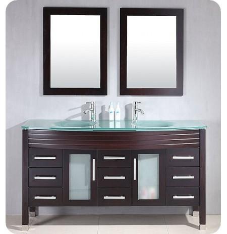 Cambridge Plumbing 8129 63 inch Wood & Glass Double Sink Vanity Set