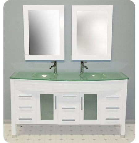 Cambridge Plumbing 8129W 63 inch White Wood & Glass Double Sink Vanity Set